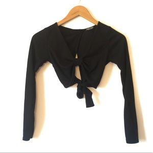 Nasty Gal Black Long Sleeve Tie Crop Top SZ 2